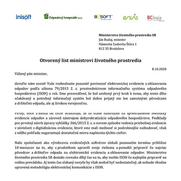 Elektronická evidencia odpadov v ISOH - otvorený list ministrovi